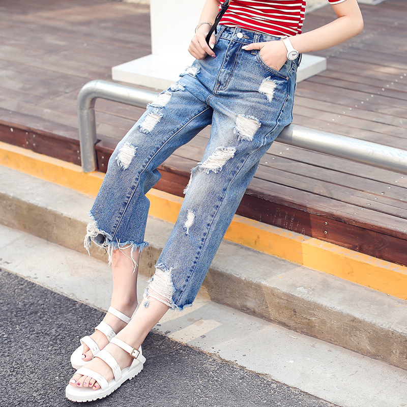 2017 Fashion Summer Ripped Boyfriend Jeans for Women Denim Loose Pants High Waist Distressed Loose Casual Ankle-Length Pants new summer vintage women ripped hole jeans high waist floral embroidery loose fashion ankle length women denim jeans harem pants