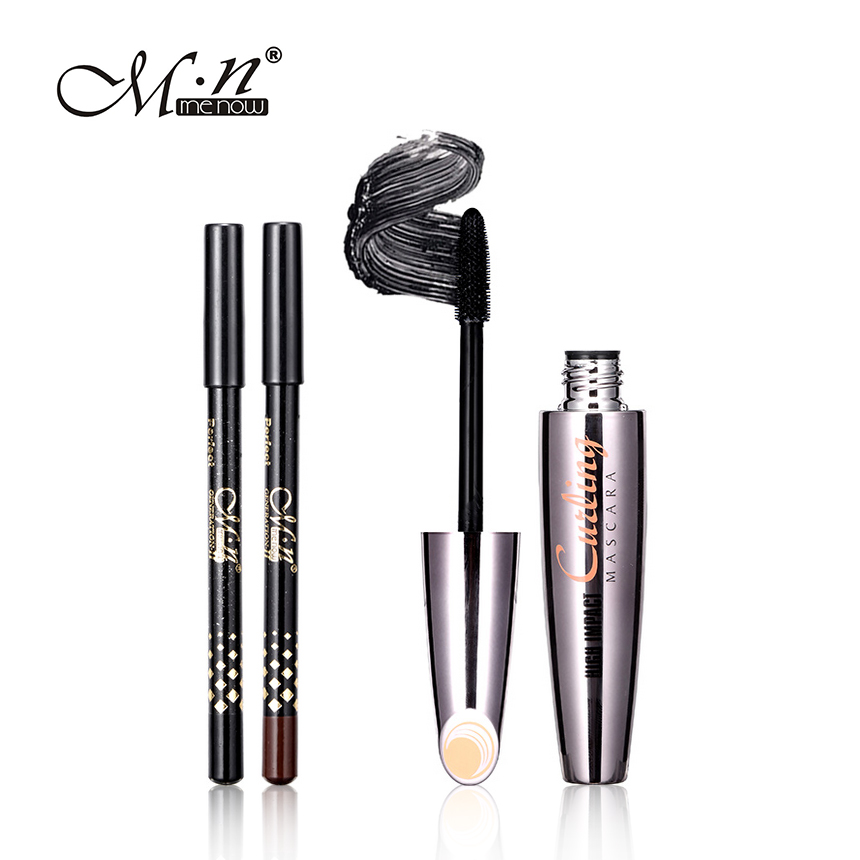 M.n Menow Mascara with 2pcs Eyebrow Pencil Longwearing Cosmetics 3D Fiber Lashes Lengthening Thick Curling Waterproof