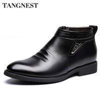 Tangnest Man S Solid Pleated Sequined Ankle Boots Men Handmade PU Leather Shoes Men 2016 New