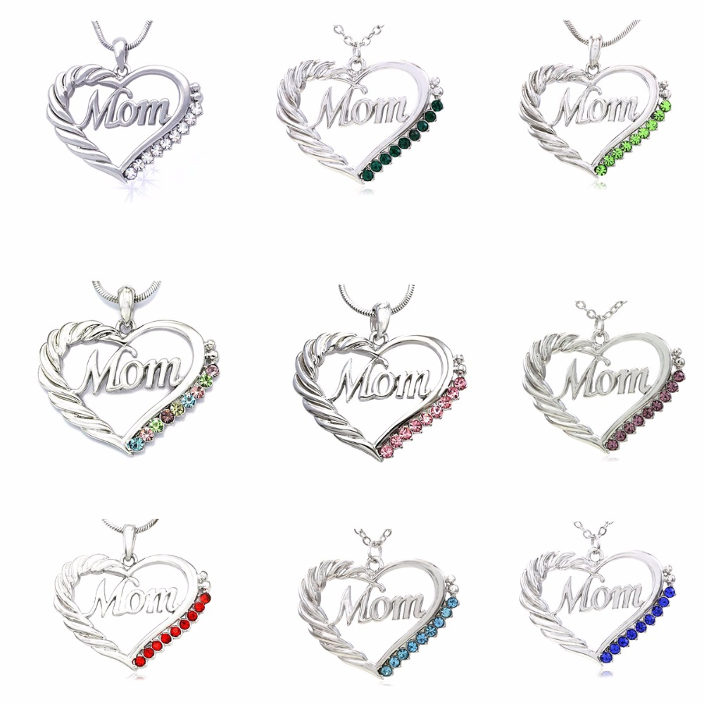 Mom Heart Necklace Love Pendant Charm for Mother s Day Gift Jewelry