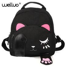 Cute Cat Backpack Female Canvas Leather Patchwork Embroidery Backpacks for Teenage Girls Funny School Rucksack Travel Bag XA655B