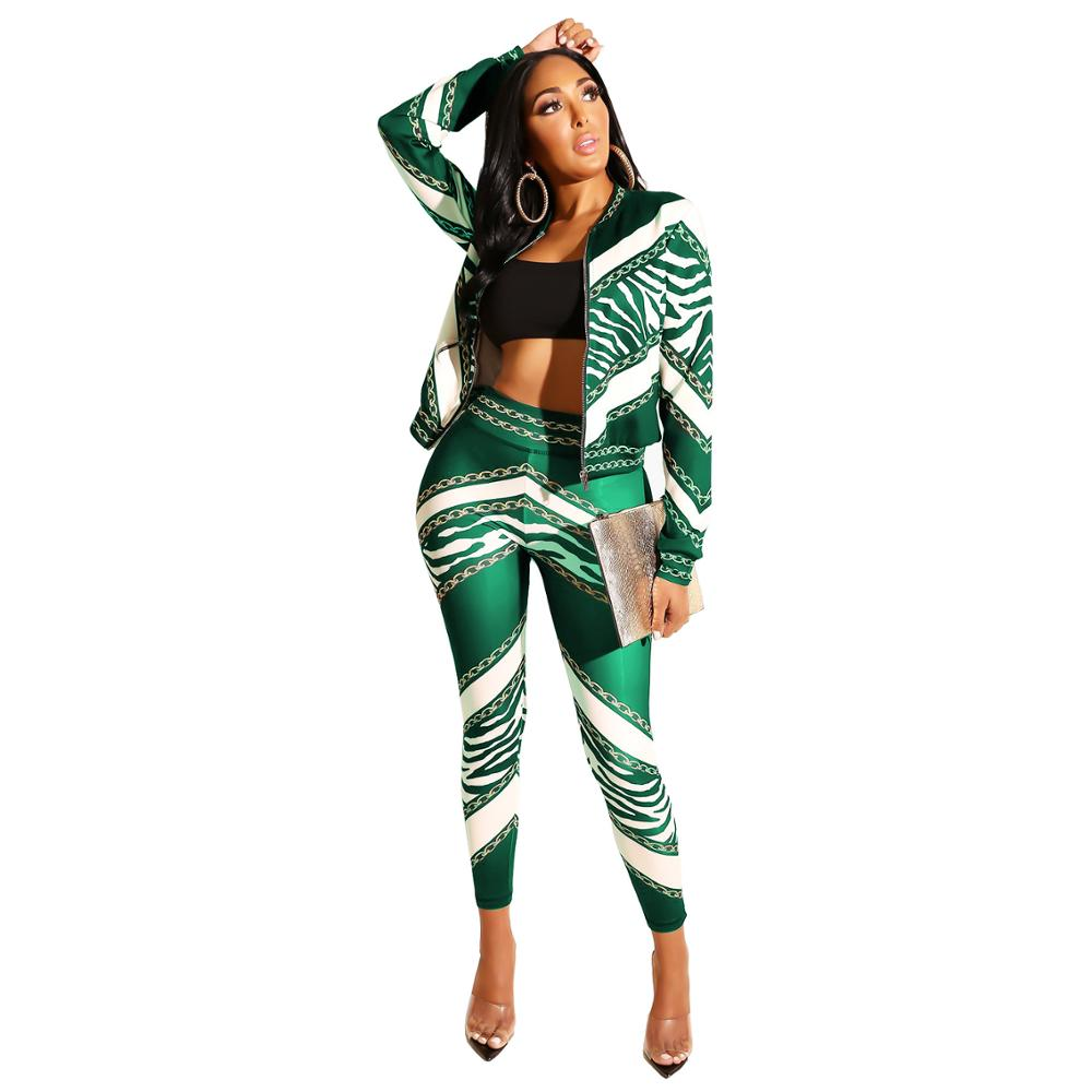 Echoine Vintage Chain Stripes Print Zipper Up Trench Top Jackets Pencil Long Pants Suits Two Piece Suit Tracksuit Outfits Women in Women 39 s Sets from Women 39 s Clothing