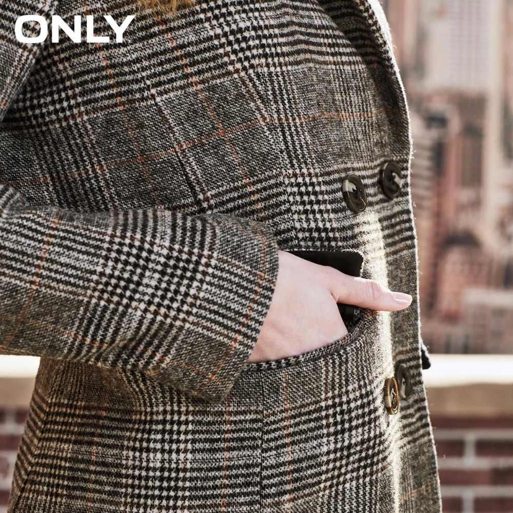 ONLY 2019 womens' winter new wool plaid long woolen coat Flap pocket Rear slit Plaid design|11836U508