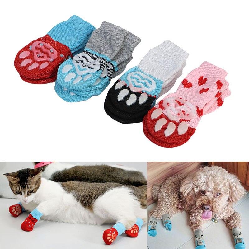 4 Pcs Pet Puppy Dog Socks Anti-slip Knitting Breathable Elasticity Warm Winter Indoor TB Sale