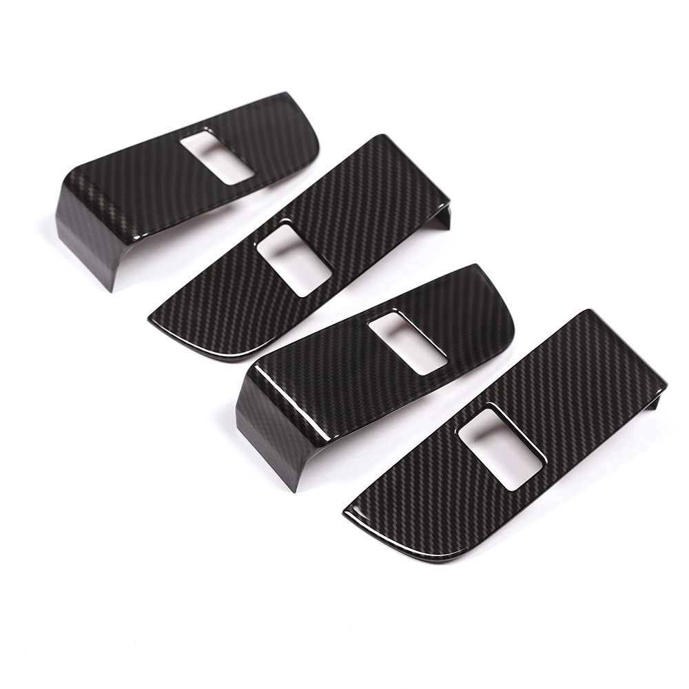 Fibre de carbone ABS Chrome sécurité enfant serrure de porte interrupteur panneau garniture pour Land Rover Discovery 5 2017 accessoires de voiture 4 pièces/ensemble