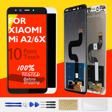 XIAOMI Mi için A2 LCD ekran + Çerçeve 10 Dokunmatik Ekran XIAOMI Mi 6X LCD Ekran Sayısallaştırıcı Değiştirme Tamir Tamir parçaları