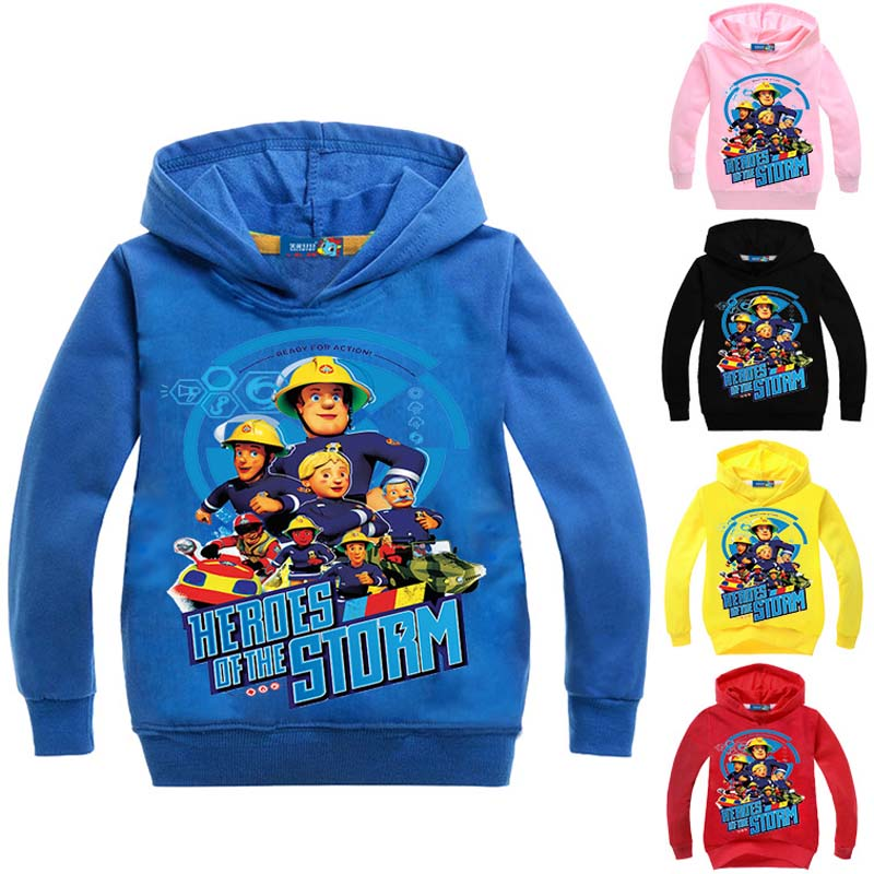 Fireman Sam Costume,3-16Years Fireman Sam Clothing Hooded Coat Baby Boy Jumper for Children Girl Clothing Print Cartoon Outwear