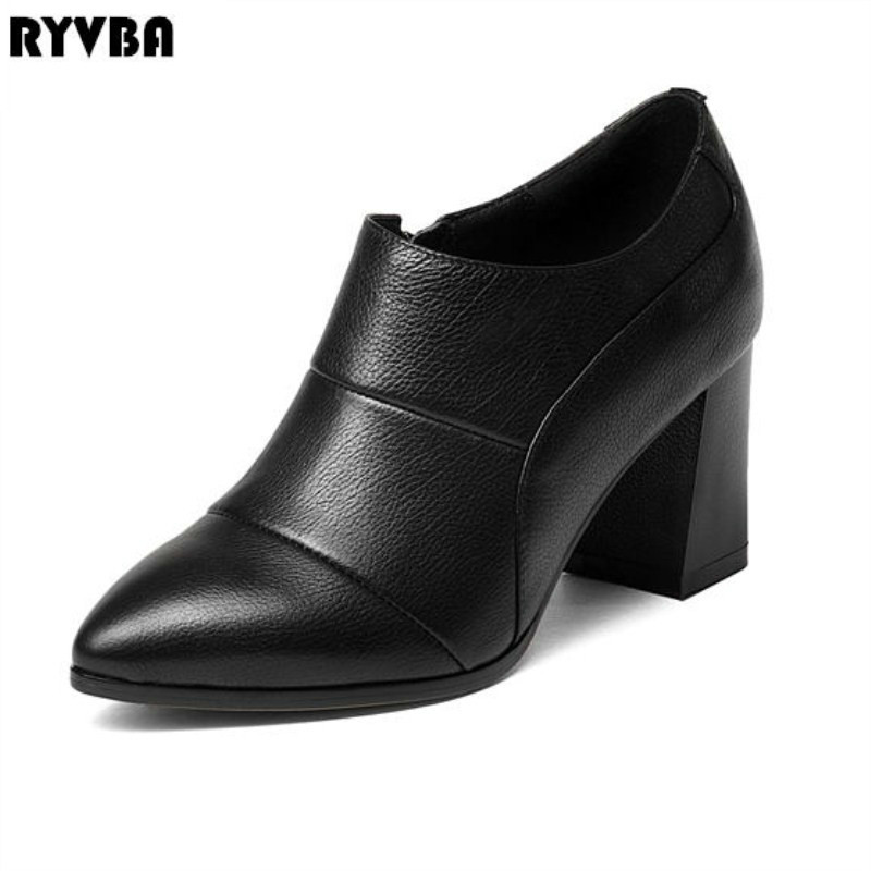 RYVBA women cow genuine leather thick high heels pumps woman pointed toe shoes ladies fashion 2018 HOT spring autumn work shoes zjvi woman pointed toe thick high heels pumps 2018 women spring autumn lace up shoes ladies women s female nubuck casual pump