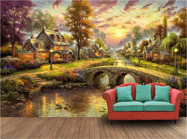 Custom Photo 3d Wallpaper Non Woven Mural Hand Painted Village Forest Night Landscape Oil