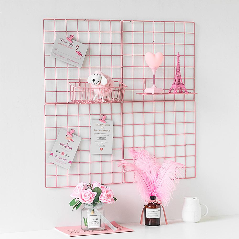 Multi-Function Iron Metal Grid Decor Pink Iron Wire Mesh Mood Board Photo Display For Girls Room Wall Decor Creative Decoration