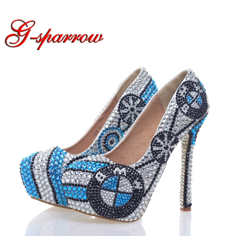 New Designer High Heel Shoes Handmade Crystal Platform Pumps Silver with Blue Rhinestone Wedding Shoes Bridal Party Prom Shoes 12 pk wooden arrows turkey zebra patton feather wood shaft archery recurve bow longbow