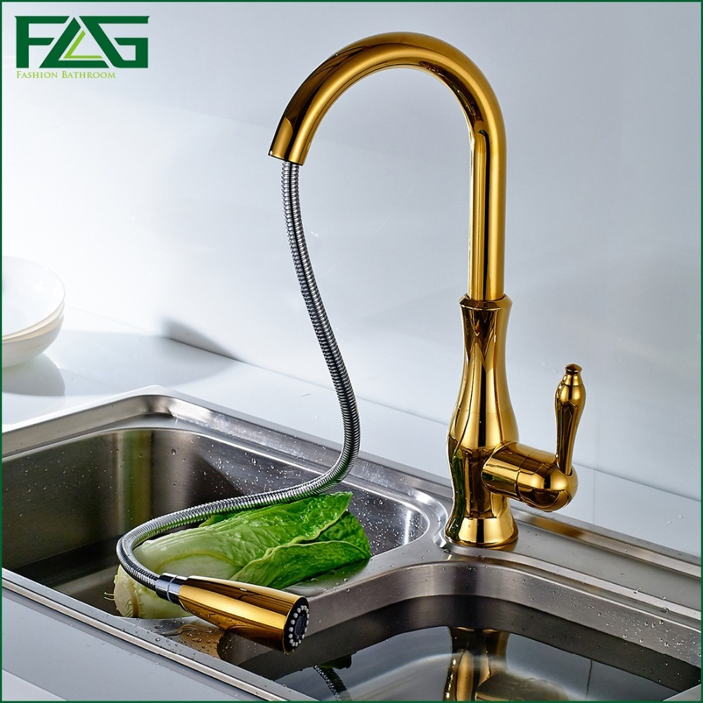 FLG Free Shipping Pull out Spray Gold Kitchen Faucet Hot And Cold ...
