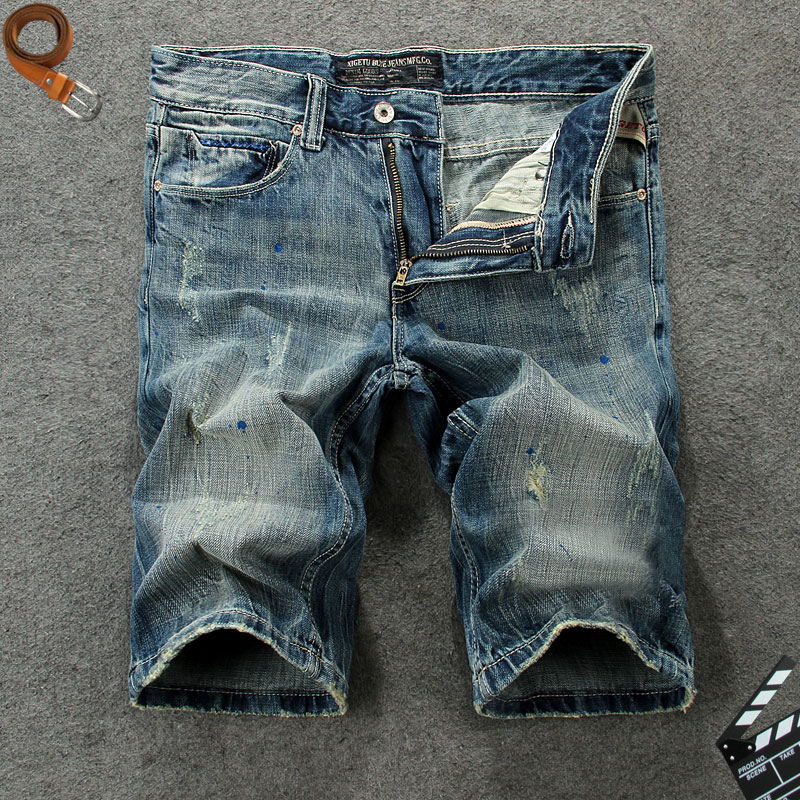 Men Jeans Shorts Fashion Classical Italian Vintage High-Quality Retro Cotton Brand Knee-Length