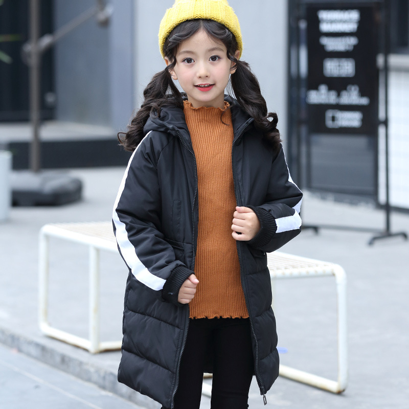 Winter jacket girl long cotton sweater tide 2018 children's clothing winter cotton clothes children girls thick cotton jacket