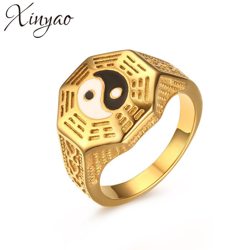 XINYAO 2017 Gold Color Mens Yin Yang Signet Ring Stainless Steel Taoism Religion Vintage Ethnic Ring for Men Lucky Jewelry
