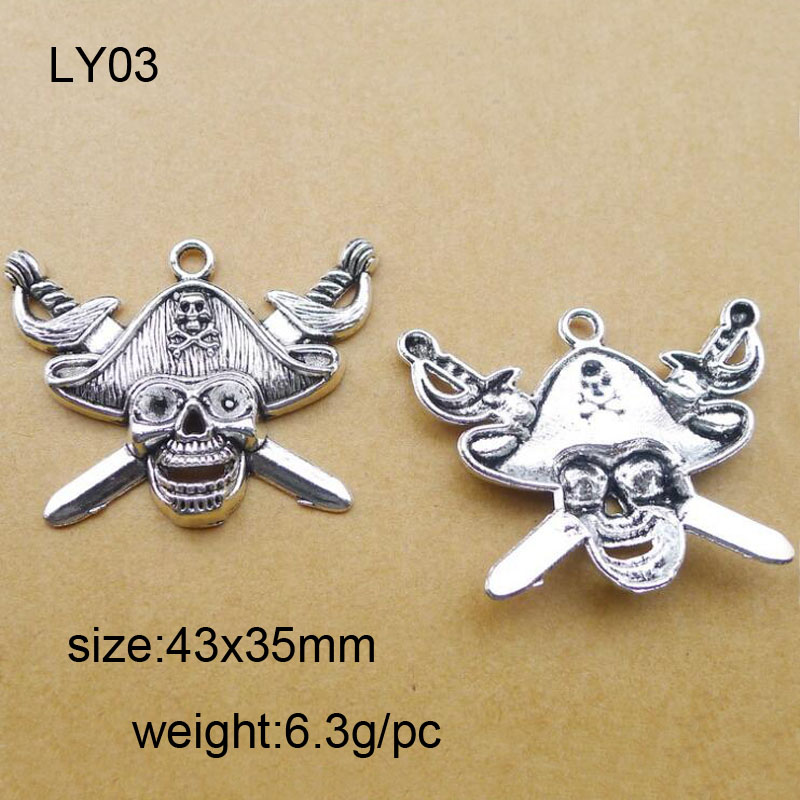 15pcs/lot Alloy Antique Silver 43x35mm The Pirate Logo Charm Pendant Fit Bracelet Necklace DIY Metal Jewelry Making