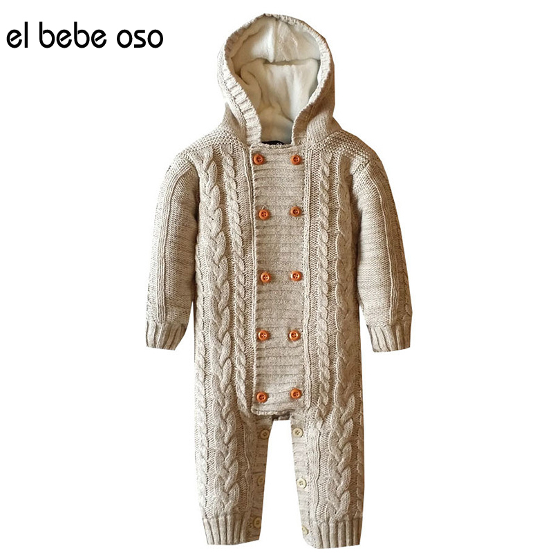 el bebe oso Newborn Baby Warm Thick Winter Double Breasted Knit Sweater Rompers Boys Girls Jumpsuit Clothes Hooded Outwear XL509 baby sweater child knit sweaters toddler winter warm long sleeve bodysuit cardigan girl jumpsuit kardigan bebe traje de cuerpo