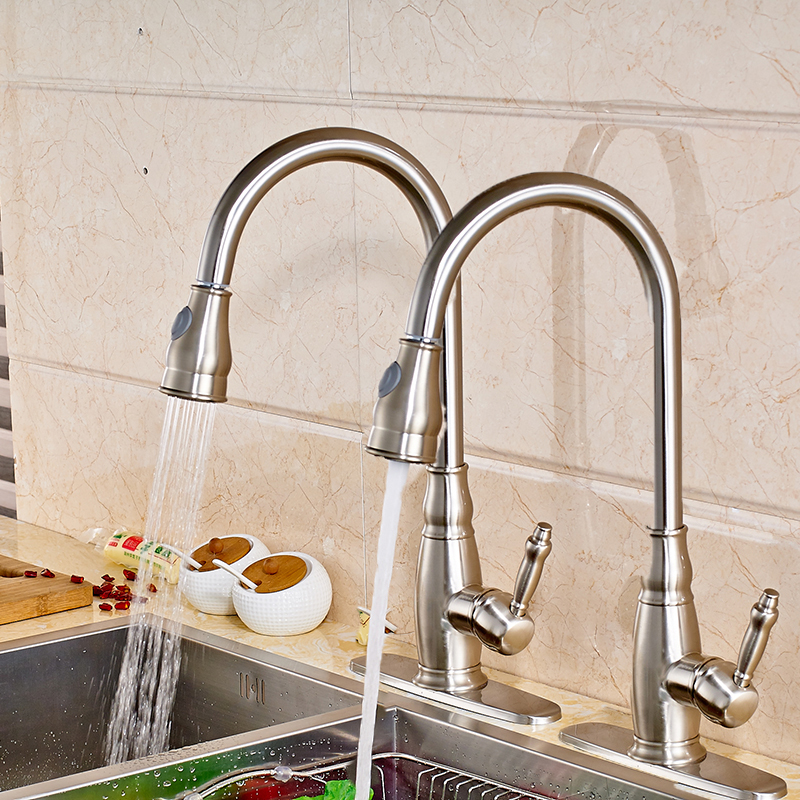 Soild Brass Kitchen Sink Faucet Single Handle/Hole Swivel Spout Pull Out Mixer Tap Nickel Brushed new flexible chrome brass pull out kitchen faucet swivel spout sink tap 97168d056 2 single handle basin sink faucets mixer taps