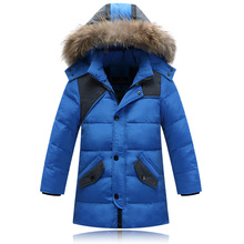 (XYF) 2016 Fashion Brand Children Clothing Winter Boys Fur Down Jacket With Hood Child Warm Long Style Outwear Free Shipping