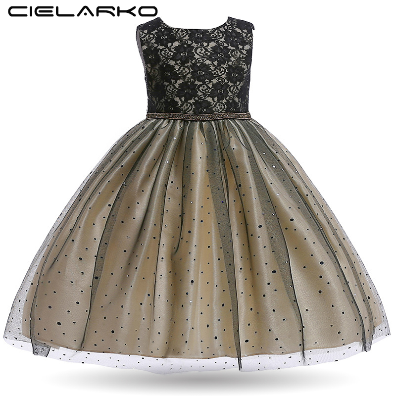 Cielarko Black Party Dress for Girl Sequin Sleeveless Pageant Kids Dresses Formal Children Clothing New Tulle Toddler Dress plus size sleeveless sequin panel belted dress