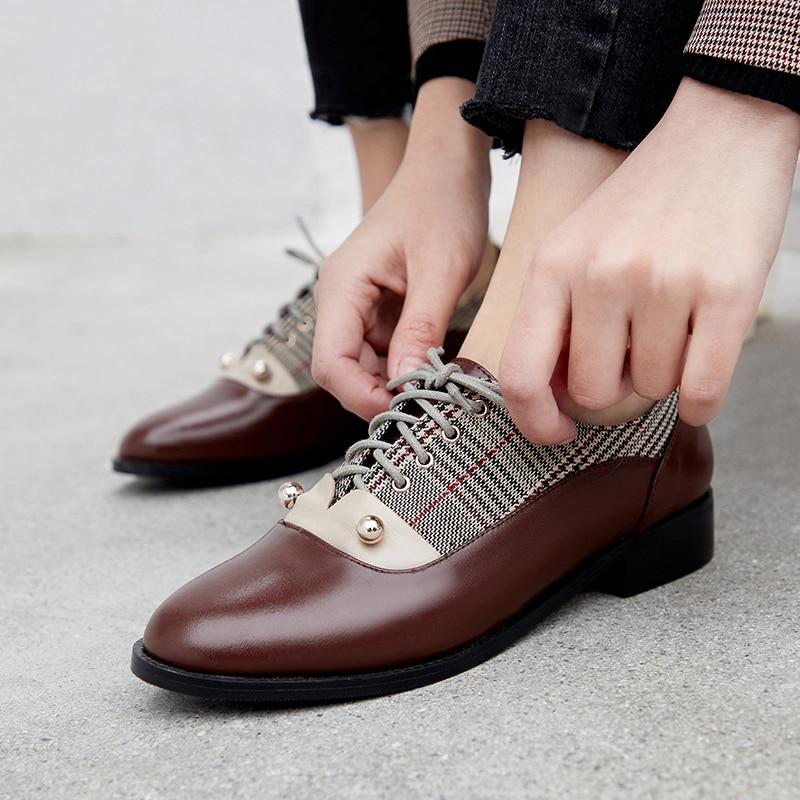 81af6c61a6ee2 Estilo Retro chocolate Zapatos Suela atados Las Vaca T Casual Goma De  Británico Oxford Genuino Mujeres Gris Bombas Plaid Cuero gU8fgqZr
