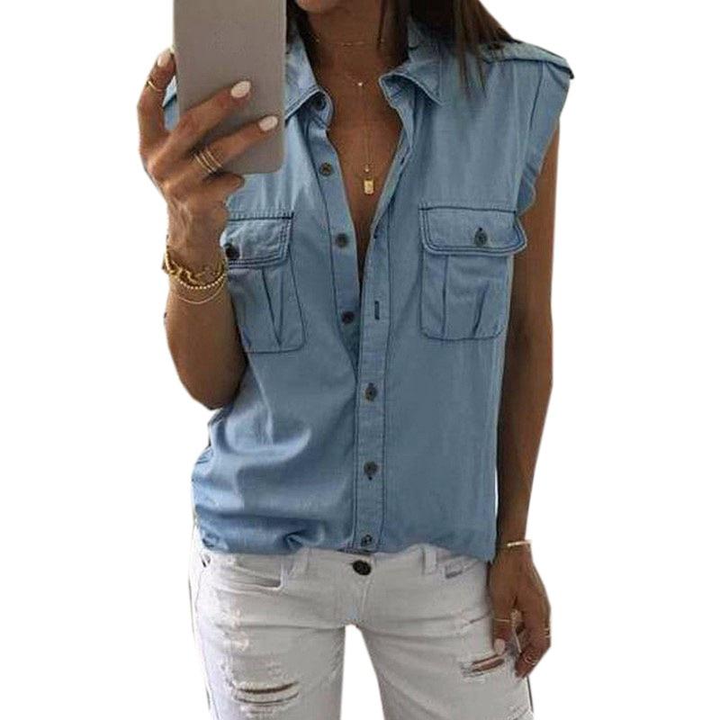2017 Women Blouse Spring Autumn Casual Shirts Sleeveless Denim Cotton Jeans Shirt Casual Women Shirt