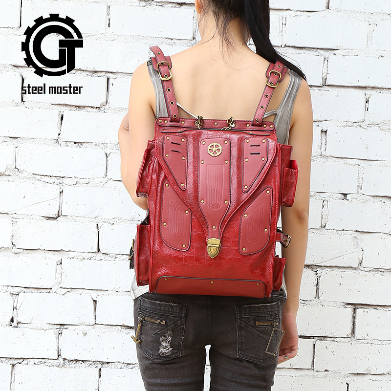 Steel Master 2016 new products steampunk backpack female personality fashion Europe and America retro rock women backpack tide повседневные брюки tide brand in europe and america d9048