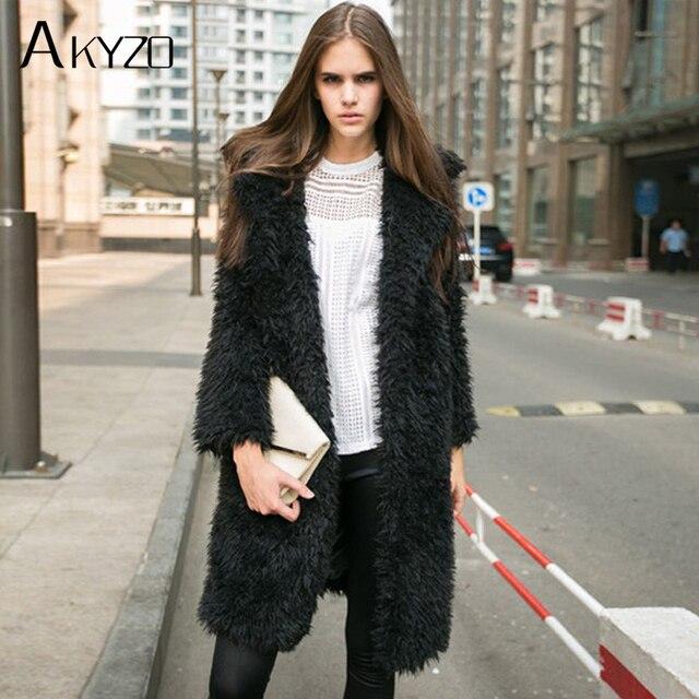 Akyzo 2017 Зима Для женщин Искусственный мех пальто кардиган с длинными рукавами элегантные женские теплые парки Искусственный мех шерстяной розовый Черный, серый цвет Пальто для будущих мам