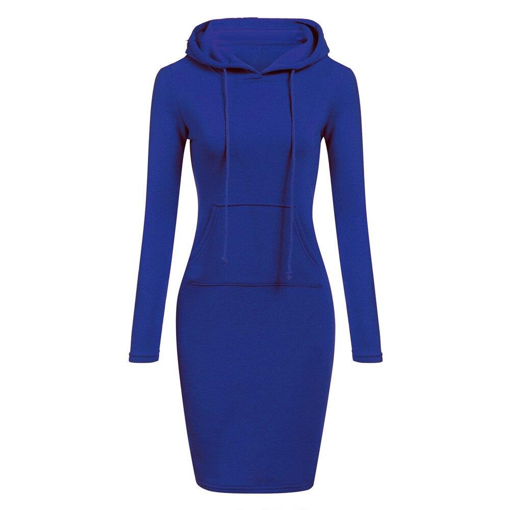 2020 Women's Dresses Women Dress 2019 Vestidos Womens Long Sleeve Solid Patchwork O Neck Casual Long Hooded Sweatershirt Dress