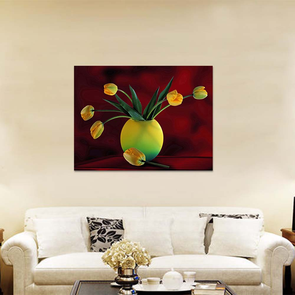 Unframed Canvas Prints Art Painting Lily Red background Prints Wall Pictures For Living Room Wall Art Decoration Drop Shipping