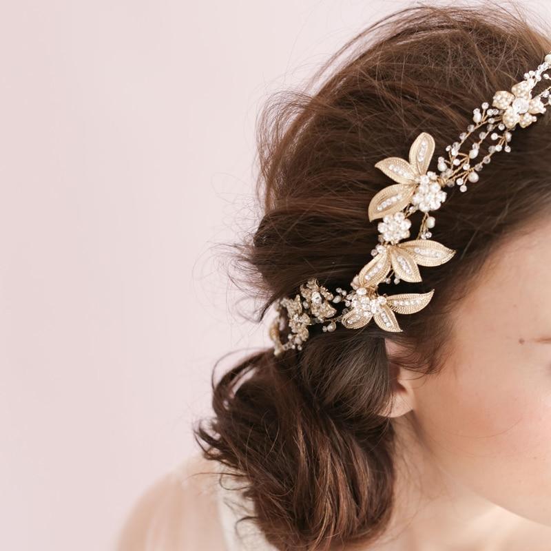 High-end barok blomsterhovedkranser Brude perle sølv hårbånd - Beklædningstilbehør - Foto 4