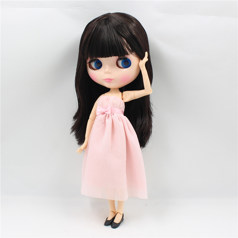 Neo Blythe Doll with Brown Hair, Natural Skin, Shiny Face & Jointed Body 2