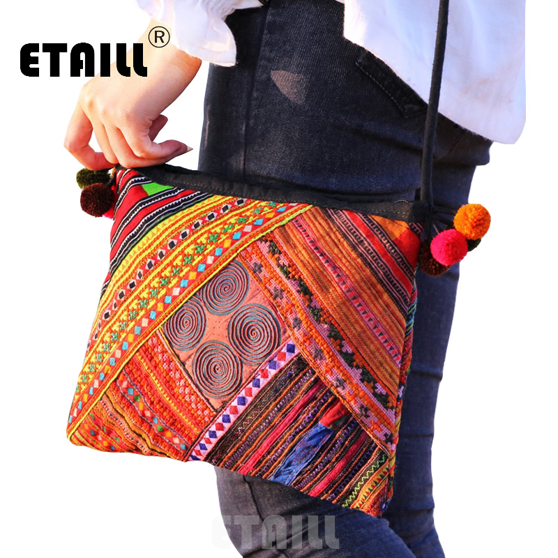 ETAILL National Trend Bohemian Boho India Thai Ethnic Embroidered Bag Handmade Double Faced Embroidery Messenger Shoulder Bag 2016 summer national ethnic style embroidery bohemia design tassel beads lady s handbag meessenger bohemian shoulder bag