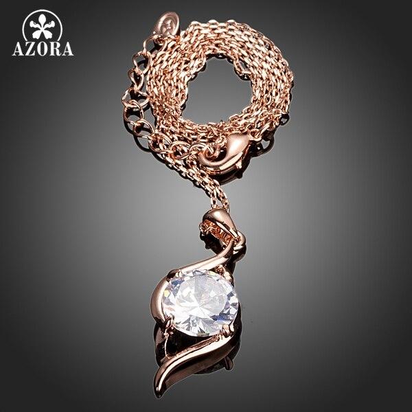 AZORA ružičasta zlatna boja jasno kubni cirkonij privjesak ogrlica - Modni nakit - Foto 2
