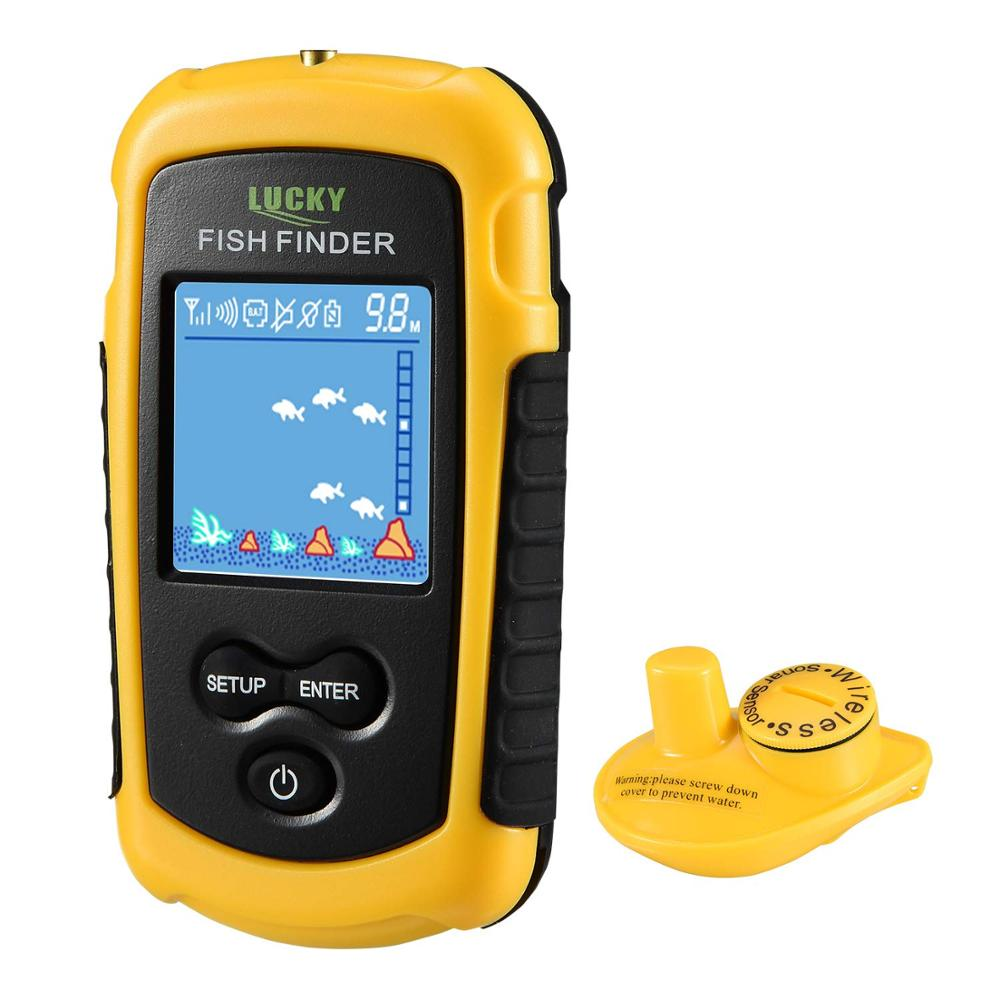 Hot sale Lucky FFCW1108 1 color display Wireless Fish Finder Alarm 40M 130FT depth echo sounder