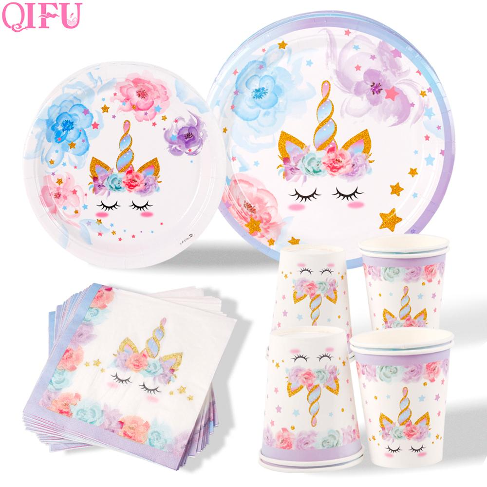 QIFU New Unicorn Tableware Kids Birthday Party Events Disposable Plates Napkins Cups Supplies