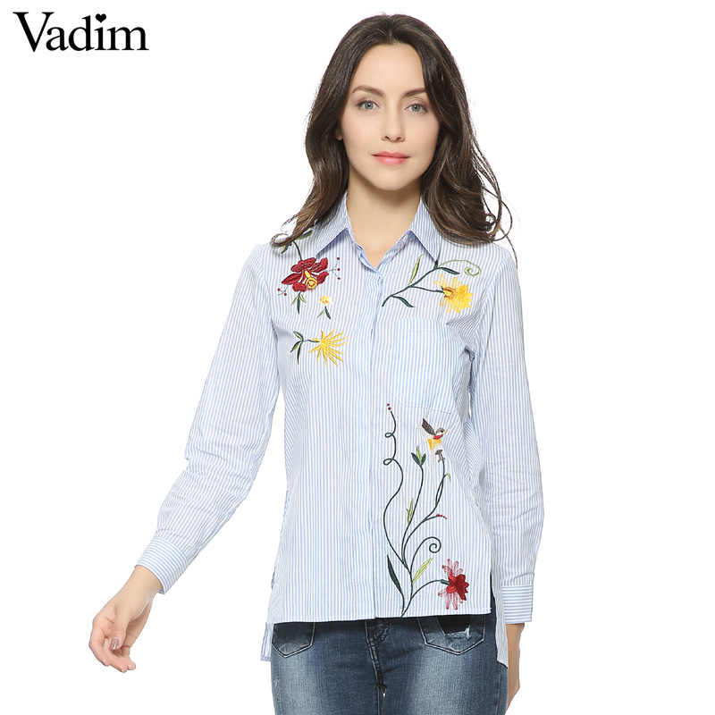 Women sweet floral embroidery striped long shirts long sleeve blouse side split turn-down collar casual tops blusas LT1120