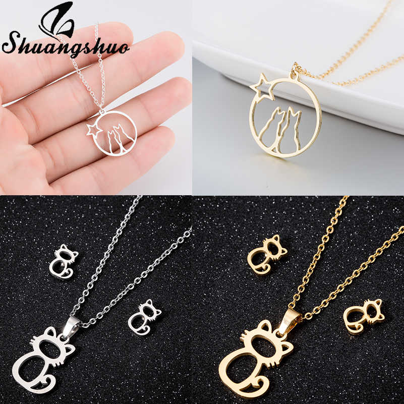 Shuangshuo Cat Pendant Necklaces For Women Stainless Steel Long Chain Necklace Hollow Out Animal Choker Collier Femme Jewelry