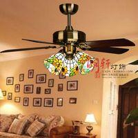 Tiffany antique fan lights restaurant chandelier American rustic sunflower 3 fan color glass chandelier
