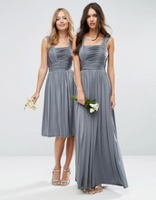 Modest Grey Ruched Chiffon Bridesmaid Dresses 2016 Optional Length Formal Dress for Women Wedding Party SH0629