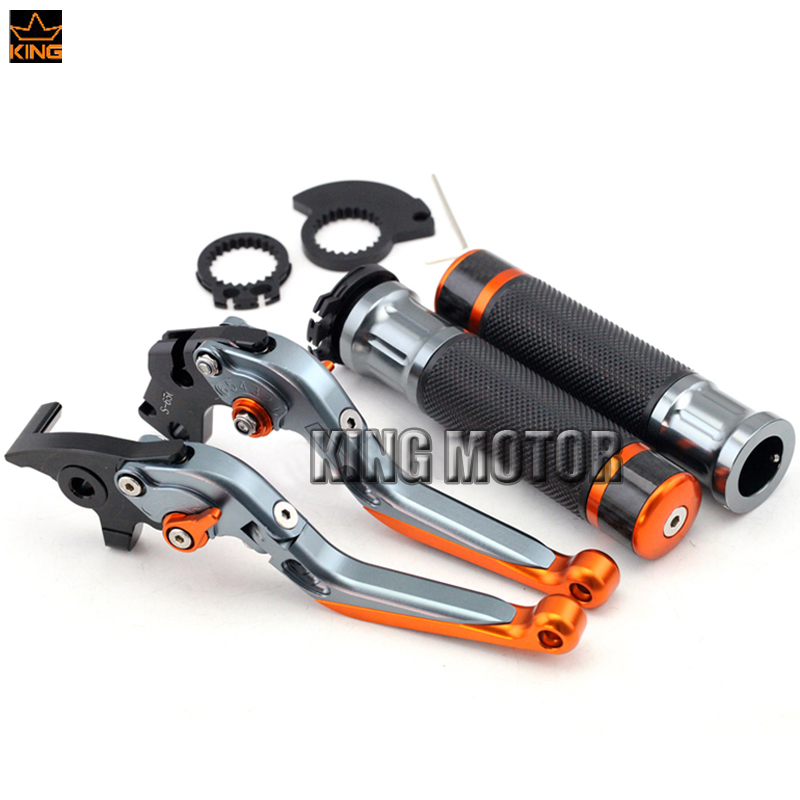 For KTM DUKE 125/200/390 2012 2013 2014 2015 Motocycle Accessories Adjustable Folding Brake Clutch Levers Handlebar Hand Grips for ktm 390 200 125 duke 2012 2015 2013 2014 motorcycle accessories rear wheel brake disc rotor 230mm stainless steel