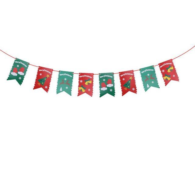 28 Meters Merry Christmas Banners 8 Flags Xmas Tree Elk Bell Paper