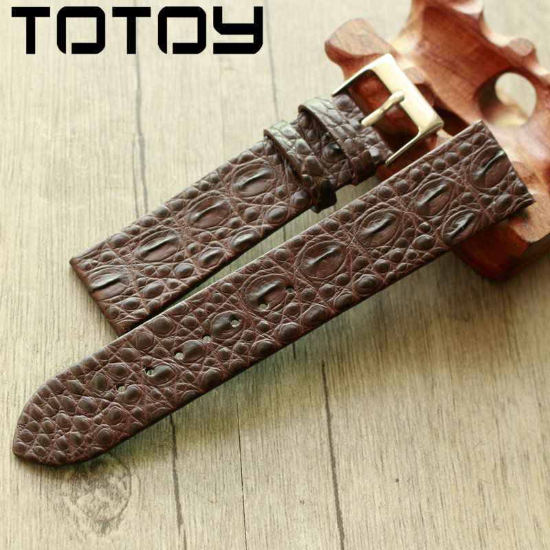 Image 3 - TOTOY Handmade Crocodile Leather Watchbands,Matching Antique Rretro Watchbands, 18 20 22MM Leather Men's Strap, Fast Delivery-in Watchbands from Watches