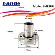 LMF8 UU 1 unids/lote LMF8UU reborde redondo de rodamiento lineal 8mm LMF8 para 3D impresora SMF8UU rodamientos Kande