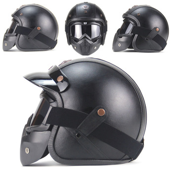 Free shipping PU Leather Helmets 3/4 Motorcycle Chopper Helmet Open Face Vintage Motorcycle Helmet with Goggle Mask
