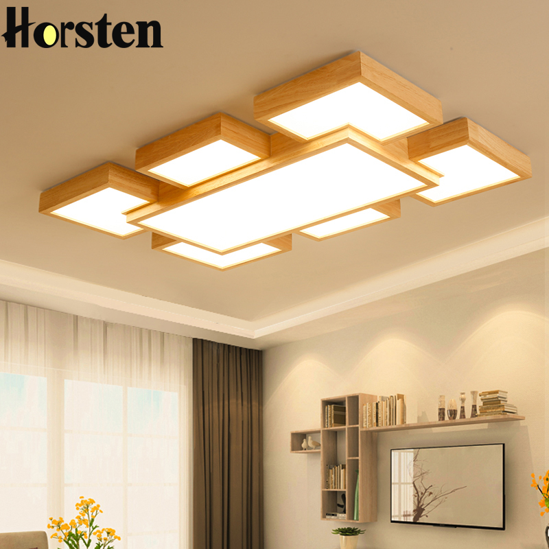 Nordic Simple Moder OAK Wood LED Ceiling Lights Japanese Style Solid Wood Ceiling Lamp For Living Room Bedroom Lighting 220V
