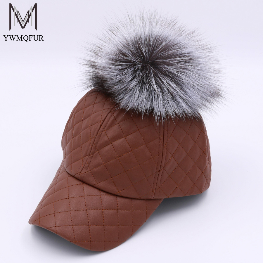 YWMQFUR 2017 New Real Fox Fur Ball Pom Pom Snapback For Women PU Leather Baseball Cap With Big Fur Ball Pom Poms Brand Hat H98 which in shower adjustable women knitted winter baseball cap warm snapback real raccoon hat solid color real fur pompom bones