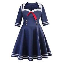fc30548f3bf Femme robes rétro grande taille col marin 50 s Rockabilly robe de soirée  élégante Vintage robe Vestido tunique grande taille rob.