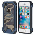 for Apple iPhone 5 5S SE RF Camouflage Soft TPU + Hard Solid PC Hybrid Back Cover Cell Phone Armor Case with LOGO Window Fashion
