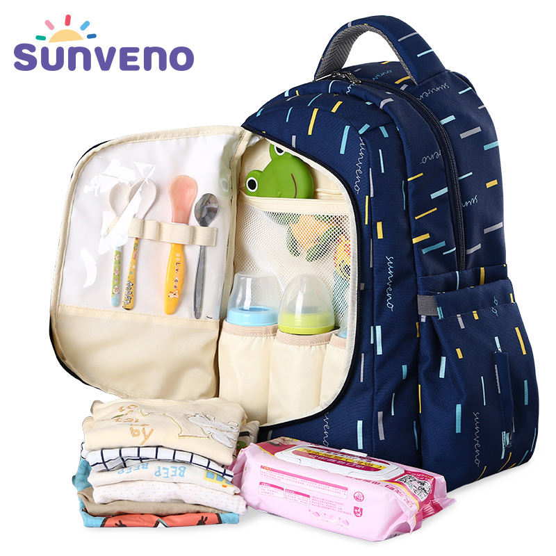 Sunveno High Capacity Breathable Diaper Bag 2 in 1 Mummy Bag Travel Backpack for Kids Baby Care Maternity Nappy Bag Trip Wetbag sunveno diaper bag backpack waterproof maternity bag high capacity travel backpack mummy nappy bag stroller bag for baby care